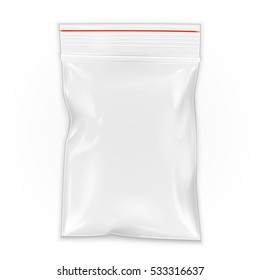 Blank Flat Poly Clear Bag Filled Plastic Polyethylene Pouch Packaging With Zipper, Ziplock. Illustration Isolated On White Background. Mock Up Template. Ready For Your Design. Vector EPS10