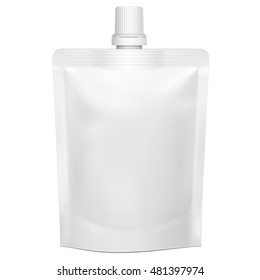 Blank Flexible Pouch With Top Cap. Doypack Food Or Drink Bag Packaging With Spout Lid. Illustration Isolated On White Background. Mock Up Template Ready For Your Design. Product Packing. Vector EPS10