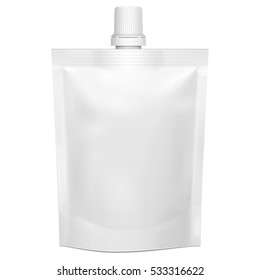 Blank Flexible Pouch With Top Cap. Food Or Drink Bag Packaging, Spout Lid. Illustration Isolated On White Background. Mock Up Template Ready For Your Design. Product Packing. Vector EPS10