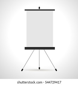 Blank flip chart isolated on white background. Blank paper and presentation. Vector illustration