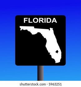 Blank Florida highway sign on blue illustration