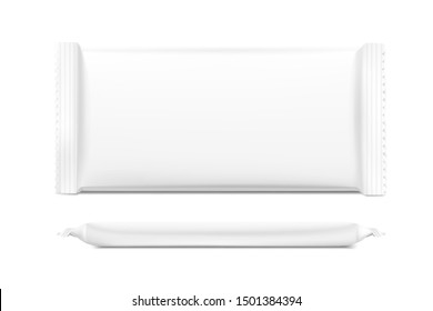 Blank flow pack isolated on white background. Realistick vector illustration. Template ready for your desing. It can be use for presentation packaging, promo, adv and etc.