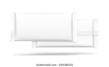 Blank flow pack isolated on white background. Realistick vector illustration. Vector illustration template ready for your desing. It can be use for presentation packaging, promo, adv and etc.