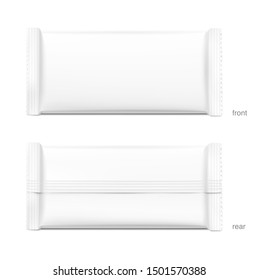 Blank flow pack isolated on white background. Front and side view. Realistic vector illustration. Template ready for your design. It can be use for presentation packaging, promo, adv and etc.
