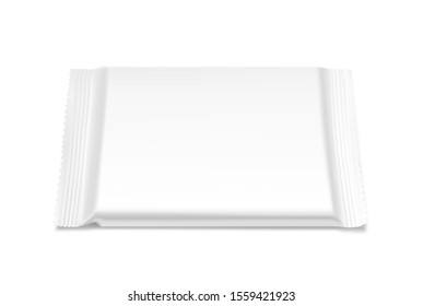 Blank flow pack isolated on white background. Realistick vector illustration. Template ready for your desing. It can be use for presentation packaging, promo, adv and etc. EPS10.