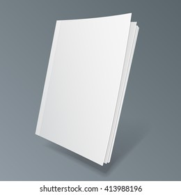 Blank Flying Cover Of Magazine, Book, Booklet, Brochure. Illustration Isolated On Gray Background. Mock Up Template Ready For Your Design. Vector EPS10