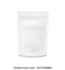 Blank Foil Food Or Drink Bag Packaging. Plastic Pouch Coffee Or Tea Bag. EPS10 Vector
