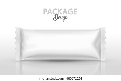Blank foil package design, food container mockup template in 3d illustration in white color