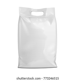 Blank Foil Or Paper Food Stand Up Pouch Snack Sachet Bag Packaging. Front View. Illustration Isolated On White Background. Mock Up, Mockup Template Ready For Your Design. Vector EPS10