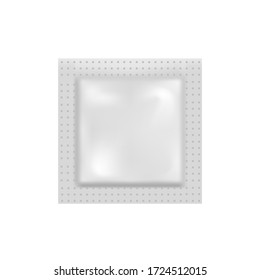 Blank of foil pouch bag Packaging for condom or food. mock up. Vector.