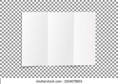Blank folded leaflet white paper. Sheet with soft shadows , isolated on transparent background. Vector illustration.