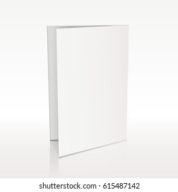 Blank folder white leaflet vector 3D mockup. Bend card flyer for business presentation illustration
