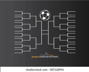 blank football tournament bracket on chalkboard.vector illustration.