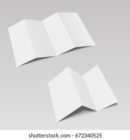 Blank four and three folded fold paper leaflet, flyer, broadsheet. Vector illustration