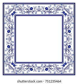 Blank Frame with blue boho floral ornament with roses. Vector illustration