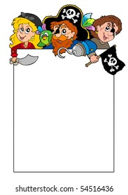 Blank frame with cartoon pirates - vector illustration.