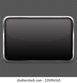 Blank frame on metal background, vector eps10 illustration