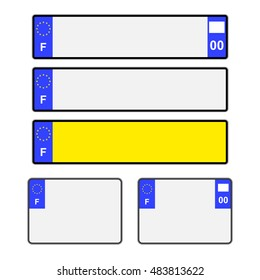 Blank French vehicle licence plates in different styles vector