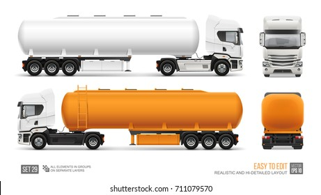 Blank Fuel Tanker Truck vector template. Water or gasoline orange Tank Truck trailer template isolated on gray. Realistic Petrol Tank mockup for branding and corporate identity design