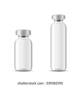 Blank glass medical bottle, 3d realistic vector lab equipment, eps 10