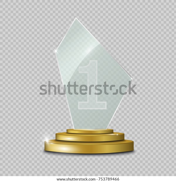 Blank Glass Trophy Award On Transparent Stock Vector (Royalty Free