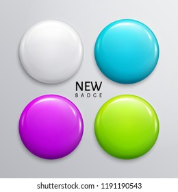 Blank glossy badges, pin or web button. Four colors, white, light blue, purple and green. Vector.