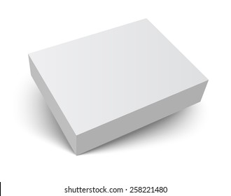 Blank gray box isolated on white. Packaging design 3d template. Vector illustration.