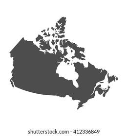 Blank Gray similar Canada map isolated on white background. North american country. Vector template for website, design, cover, infographics. Graph illustration.
