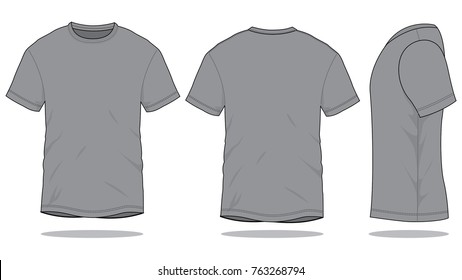 Blank Gray T-Shirt Vector For Template.Front, Back And Side Views.