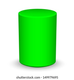 Blank green cylinder on white background