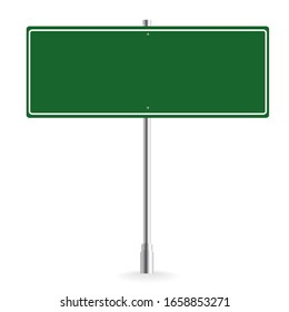 Blank green road sign or Empty traffic vector illustration