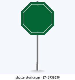 Blank green road sign or Empty traffic vector illustration