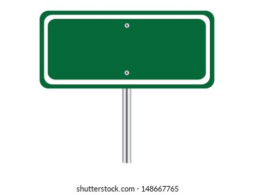Blank Green Traffic Road Sign on White. Vector