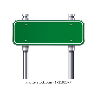 Blank Green traffic road sign vector