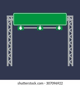 Blank green traffic road sign on black