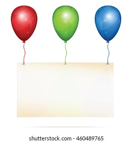 Blank greeting card with place for custom text hanging on three color balloons: red, green, blue. Vector Illustration, isolated on white background.