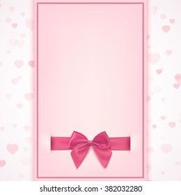 Blank greeting card template for baby girl shower celebration, birthday, or baby girl announcement card, Valentines day, Women's day, Mother's day. Vector illustration.