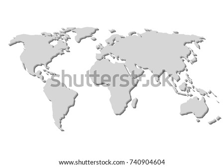 Blank Grey World Map Isolated On Stock Vector (Royalty Free ...
