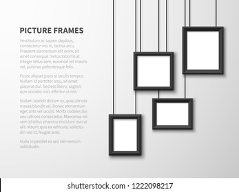 Blank hanging frames. Pictures, photo frames on light wall. Contemporary vector interior