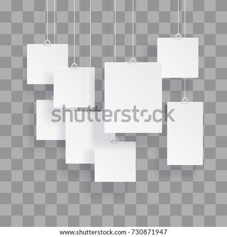 blank hanging photo frames poster templates のベクター画像素材