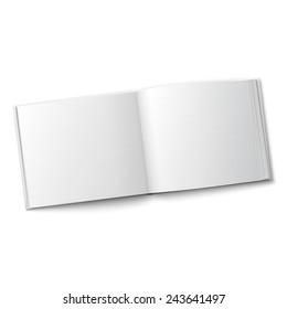 Blank hardcover album template opened on white background Vector illustration.