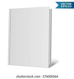 Blank hardcover book isolated on white background. Vector illustration.