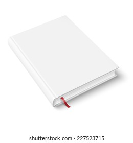 Blank hardcover book template with red bookmark on white background with soft shadows. Perspective view. Vector illustration.