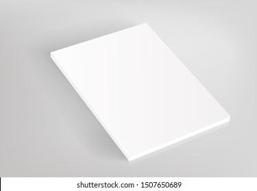 Blank hardcover white book vector mockup