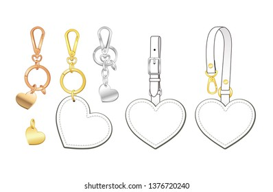 Blank heart shaped key chains set, heart shaped bag charms/ tags with detachable strap, vector illustration sketch template