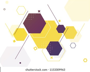 Blank hexagonal geometric abstract background for science or technology concept.