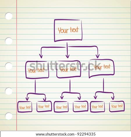 Blank Hierarchy Diagram Stock Vector Royalty Free 92294335