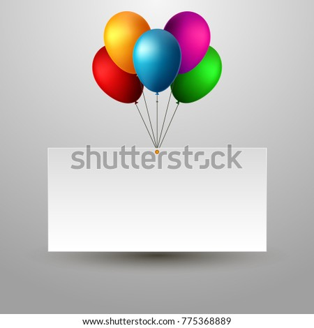 Blank Holiday Birthday Banner With Balloons Isolated Vector