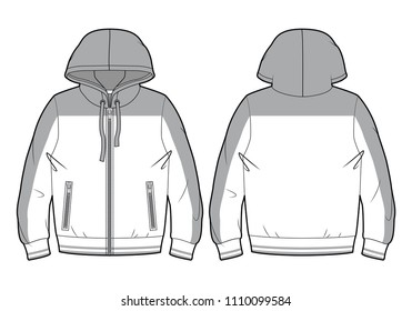 Blank hooded sport sweatshirt with zip closure and pockets