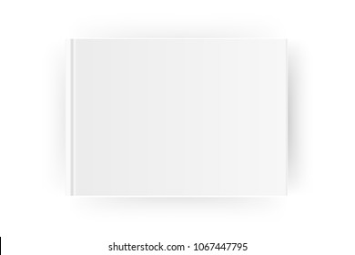 Blank horizontal A4 book cover template . Mock up closed magazine or notebook. Isolated on white background. Vector Illustration